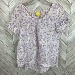 Maeve tropical leaf print ruffle sleeve blouse
